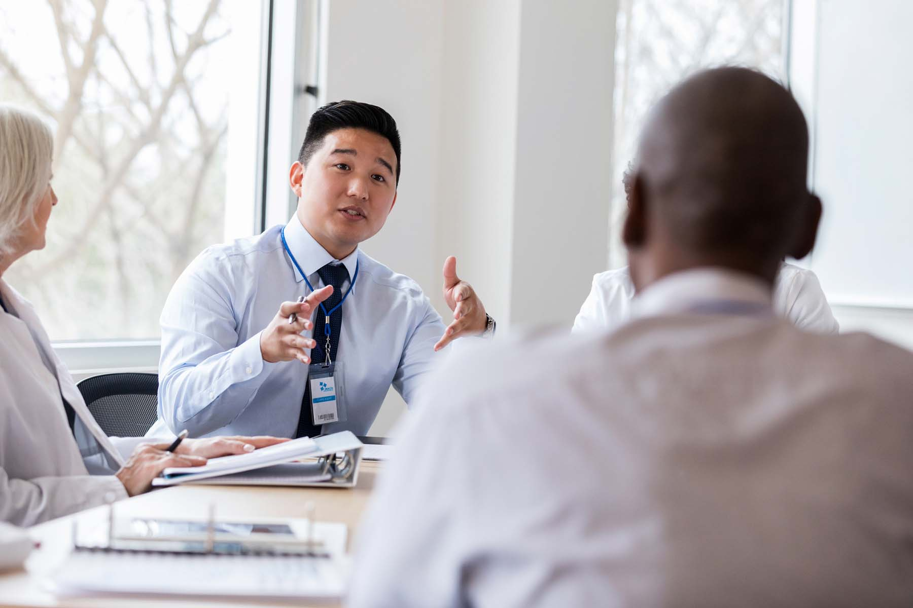 man talking in meeting